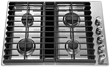 """KitchenAid KCGD500GSS 30"""" 4 Burner Stainless Steel Gas Downdraft Cooktop"""