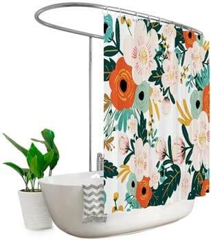 Riyidecor Extra Wide Spring Flower Shower Curtain