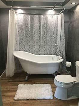 Riyidecor Vintage Damask Around Shower Curtain